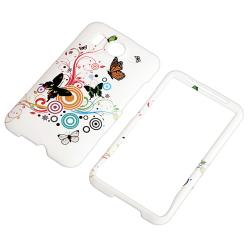 INSTEN White/ Butterfly Flower Rubber Coated Phone Case Cover for HTC Desire HD