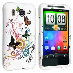 White/ Butterfly Flower Rubber Coated Case for HTC Desire HD