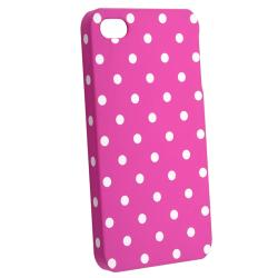 Pink with White Dot Snap-on Rubber Coated Case for  Apple iPhone 4/ 4S