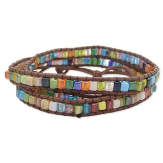 Handcrafted Brown Leather and Square Glass Stone Mosaic Wrap Bracelet (India)