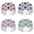 Miadora Sterling Silver 2 3/4ct TGW Gemstone and White Sapphire Ring