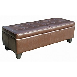 Espresso Leather Tufted Storage Bench Ottoman