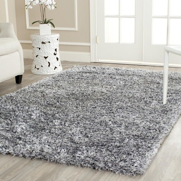 Safavieh Hand-tufted Malibu Shag Silver Polyester Rug (6' x 9')