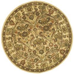 Handmade Treasured Gold Wool Rug (3'6 Round)
