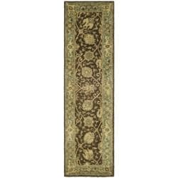 Safavieh Handmade Mashad Brown/ Green Wool Rug (2'3 x 12')