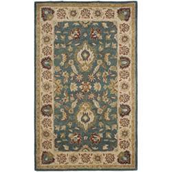 Handmade Jaipur Blue/ Beige Wool Rug (3' x 5')