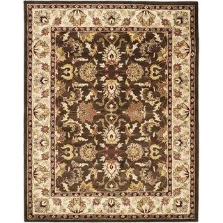Handmade Heritage Exquisite Brown/ Ivory Wool Rug (8'3 x 11')