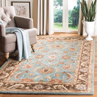 Handmade Heritage Blue/ Brown Wool Rug (9' x 12')