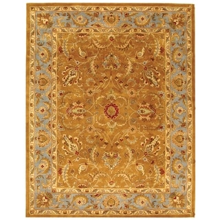 Handmade Heritage Shahi Brown/ Blue Wool Rug (9' x 12')