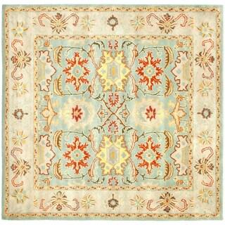Handmade Treasures Light Blue/ Ivory Wool Rug (8' Square)
