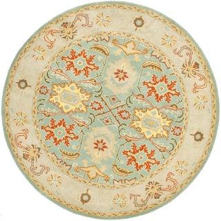 Safavieh Handmade Heritage Treasures Light Blue/ Ivory Wool Rug (8' Round)