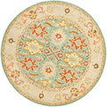 Handmade Heritage Treasures Light Blue/ Ivory Wool Rug (8' Round)