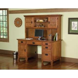 Arts and Crafts Cottage Oak Pedestal Desk and Hutch Set