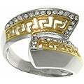 CGC Two-tone Stainless Steel Cubic Zirconia Greek Key Bypass Ring