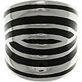 CGC Stainless Steel Black Enamel Zebra Stripe Cigar Band