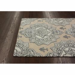 nuLOOM Handmade Indoor / Outdoor Damask Beige Rug (5' x 8')