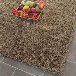 Handmade Posh light Brown Shag Rug (2'6 x 4')