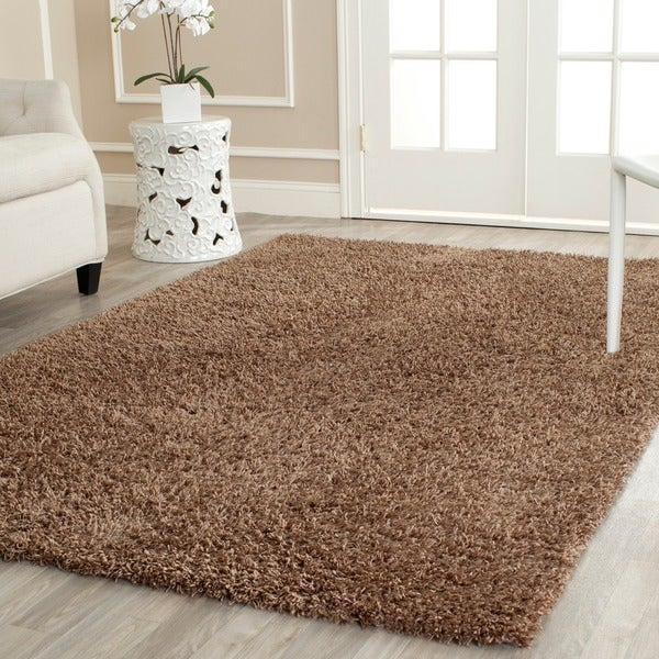 Safavieh Handmade Posh light Brown Shag Rug (4' x 6')
