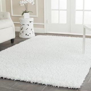 Safavieh Handmade Posh White Shag Rug (5' Square)