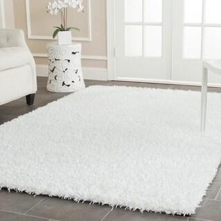 Safavieh Handmade Posh White Shag Rug (6' x 9')