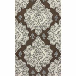 nuLOOM Handmade Indoor / Outdoor Damask Brown Rug (5' x 8')