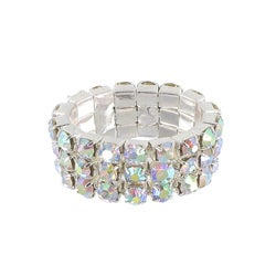 Roman Silvertone Crystal 3-row Stretch Ring