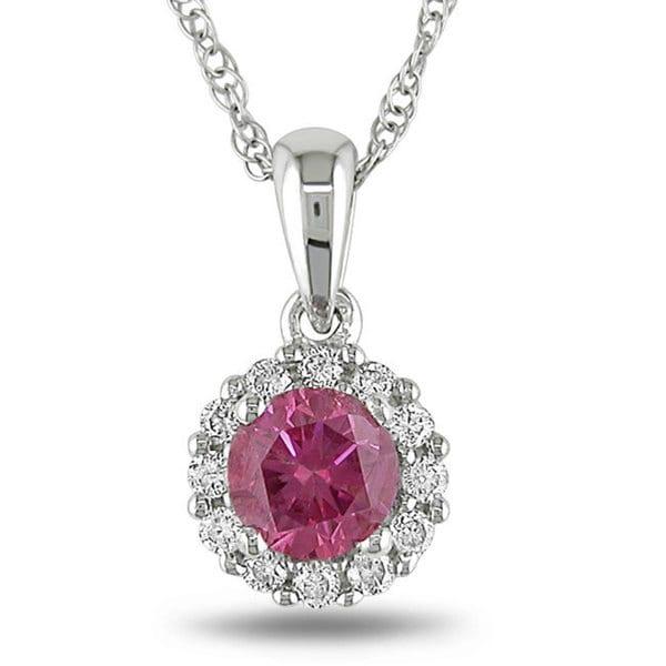 Miadora 10k White Gold 1/2ct TDW Pink and White Diamond Necklace (H-I, I1-I2)