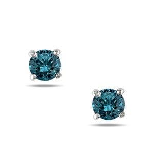 Haylee Jewels 14k White Gold 1/3ct TDW Blue Diamond Stud Earrings