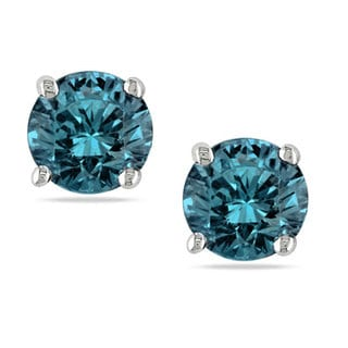 SHIRA 14k White Gold 1ct TDW Blue Diamond Stud Earrings