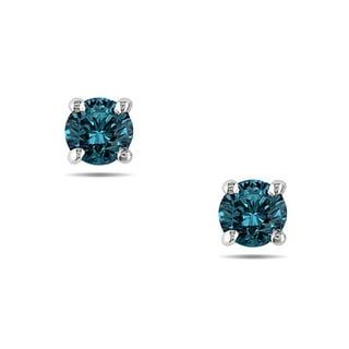Miadora 14k White Gold 1/4ct TDW Blue Diamond Stud Earrings