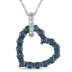 Miadora 10k White Gold 3/4ct TDW Blue and White Diamond Necklace (H-I, I2-I3)