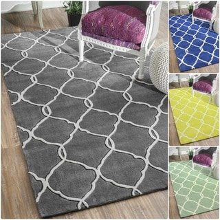 nuLOOM Handmade Pino Moroccan Grey Trellis Rug (7'6 x 9'6)