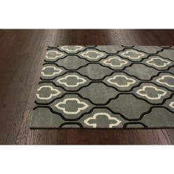 nuLOOM Handmade Moroccan Trellis Grey Wool Rug (7'6 x 9'6)