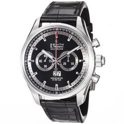 Zenith Men's 'El Primero' Black Dial Black Leather Strap Watch