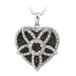 DB Designs Silvertone Black Diamond Accent Heart Medallion Necklace