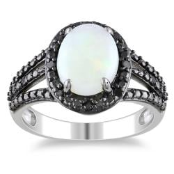 Miadora Sterling Silver Opal and 1/10ct TDW Black Diamond Ring (1 5/8ct TGW)