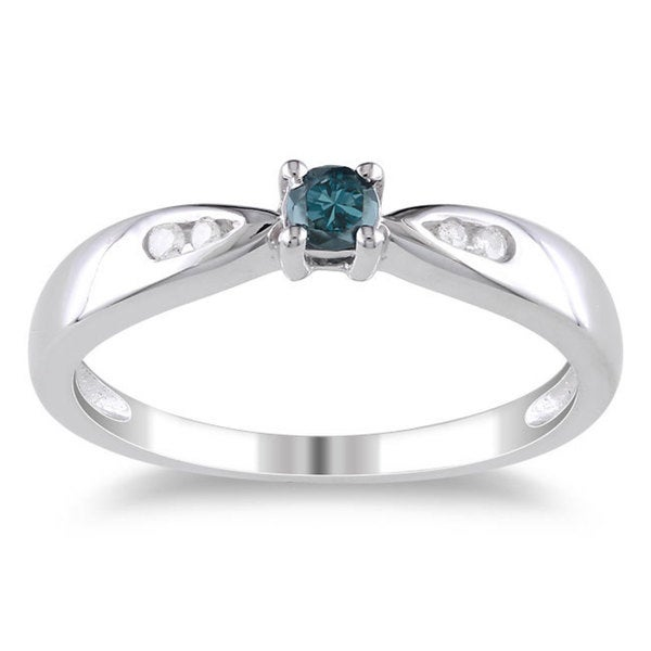 Haylee Jewels Sterling Silver 1/5ct TDW Blue and White Diamond Ring (H-I, I1-I2)