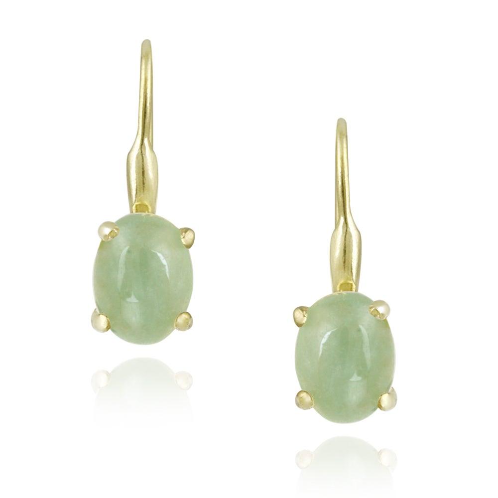 Glitzy Rocks 18k Gold over Silver Green Jade Earrings (2 1/2ct TGW)