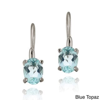 Glitzy Rocks Sterling Silver Gemstone Dangle Earrings (3ct TGW)