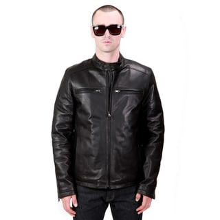 United Face Men's Black Lambskin Leather Biker Motorcycle Jacket