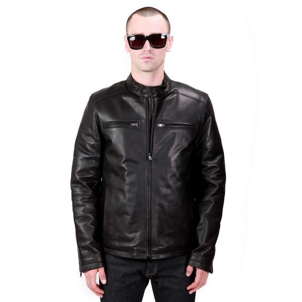 United Face Men's Black Lambskin Leather Biker Motorcycle Jacket