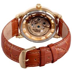 Stuhrling Original Men's Winchester 44 Skeleton Automatic Brown Leather Strap Watch