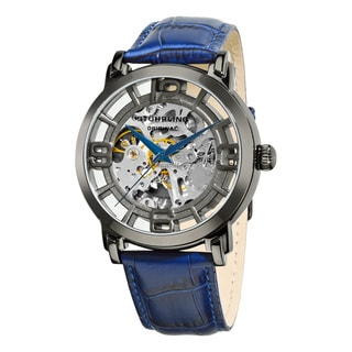 Stuhrling Original Men's Winchester 44 Skeleton Automatic Blue Leather Strap Watch
