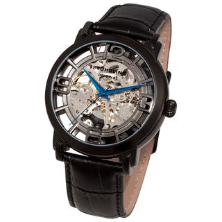 Stuhrling Original Men's Winchester 44 Skeleton Automatic Black Leather Strap Watch