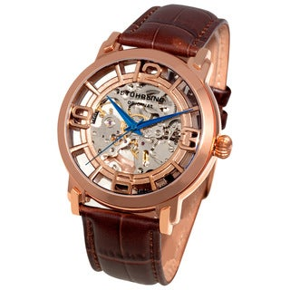 Stuhrling Original Men's Winchester 44 Skeleton Automatic Dark Brown Leather Strap Watch