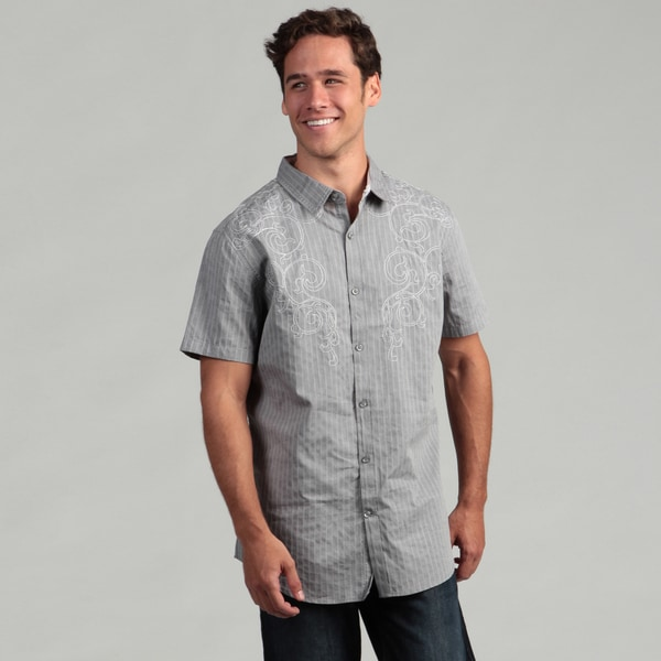 JCLA Men's Grey Embroidered Striped Woven Shirt