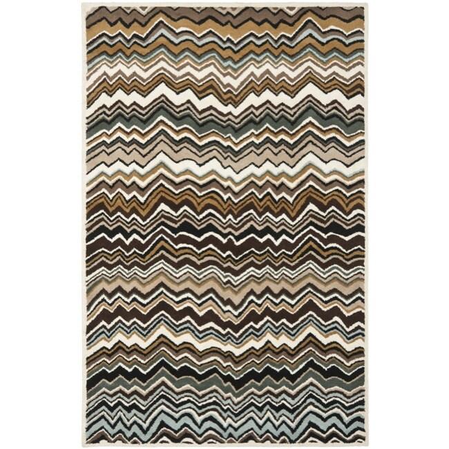 Safavieh Handmade Chatham Zig-Zag Brown New Zealand Wool Rug (4' x 6')