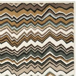 Safavieh Handmade Chatham Zig-Zag Brown New Zealand Wool Rug (4' x 6')