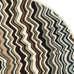 Handmade Chatham Zig-Zag Brown New Zealand Wool Rug (7' Round)