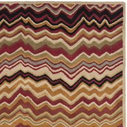 Safavieh Handmade Chatham Zig-Zag Red New Zealand Wool Rug (4' x 6')